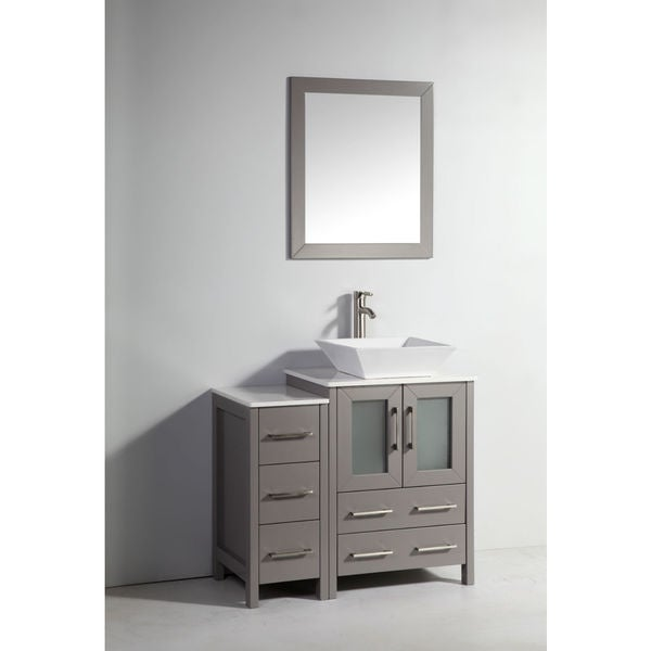 legion furniture 36 inch light grey solid wood single sink vanity set with side cabinet and