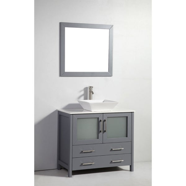 ... Cabinets Shaker Grey Wood 36-inch Single Sink Bathroom Vanity Cabinet