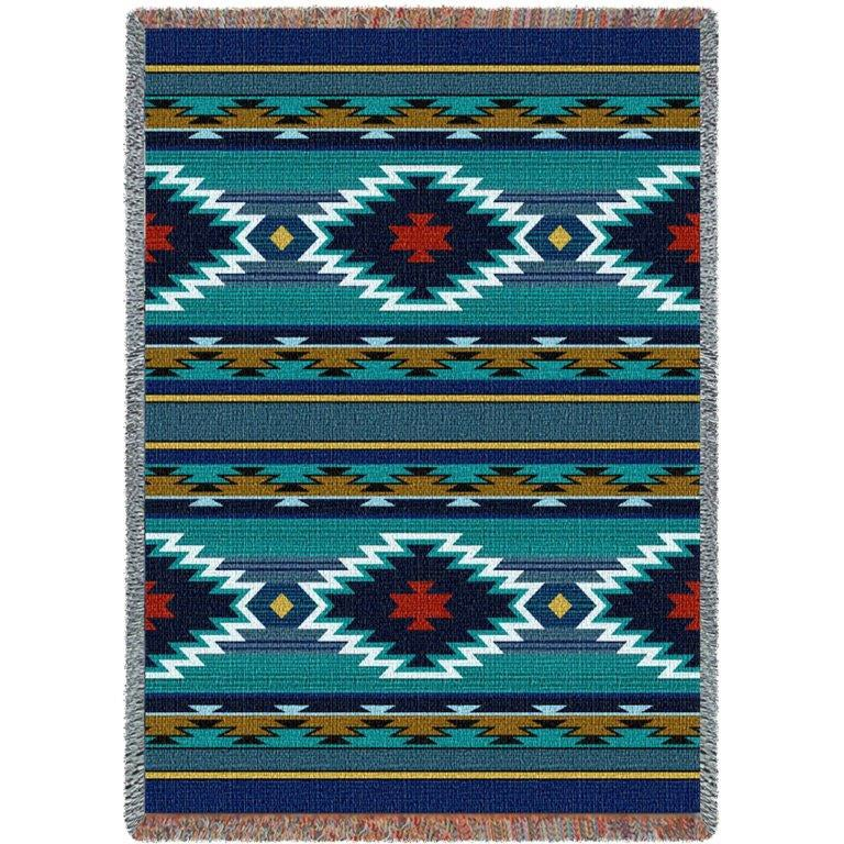 Pure Country Southwest Geometric Cornflower Tapestry Thro...