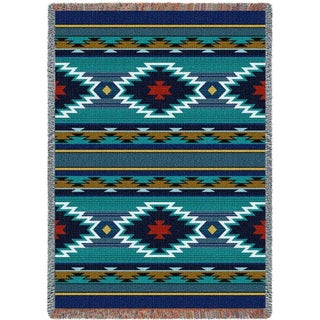 Southwest Geometric Cornflower Tapestry Throw Blanket