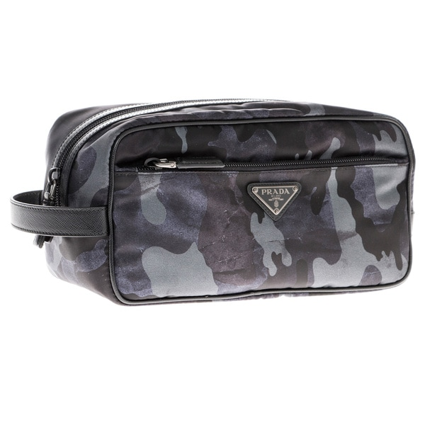 2c1aed8cf994 Shop Prada Camouflage Print Nylon Cosmetic Pouch - Free Shipping ...