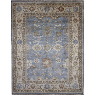 Hand-knotted Oushak Zouhir Blue Rug (9'3 x 11'10)