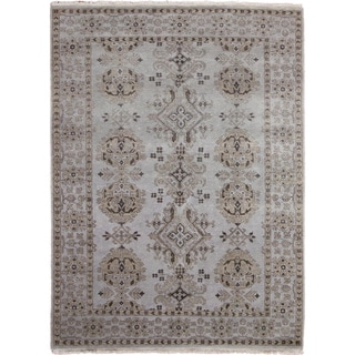 Hand-knotted Oushak Sami Blue Rug (6'0 x 8'9)