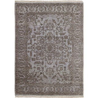 Hand-knotted Oushak Ader Blue Rug (5'0 x 6'10)