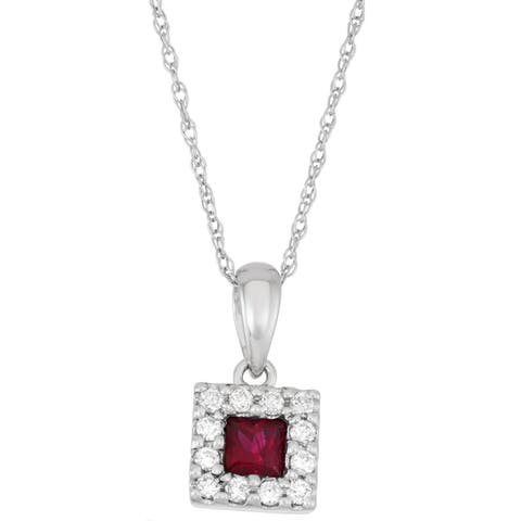 Boston Bay Diamonds 14k White Gold Ruby & 1/8ct TDW Diamond Halo Square Pendant w/ Chain