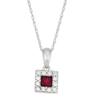 Boston Bay Diamonds 14k Yellow Ruby and 1/8ct TDW Diamond Halo Square Necklace