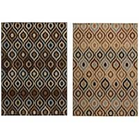"""Rizzy Home Carrington Collection Power-Loomed Ivory/ Black Accent Rug (6'7 x 9'6) - 6'7"""" x 9'6"""""""