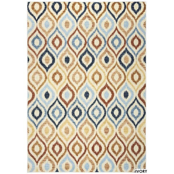 Rizzy Home Carrington Collection Power-Loomed Ivory/ Black Accent Rug (6'7 x 9'6)