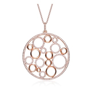 Collette Z Sterling Silver Rose-plated Cubic Zirconia Circle Necklace