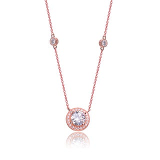 Collette Z Rose-plated Sterling Silver Cubic Zirconia Round Necklace