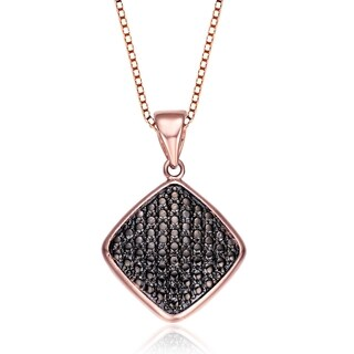 Collette Z Rose and Black-plated Sterling Silver Cubic Zirconia Square Shape Necklace