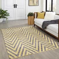 "Momeni Caravan Hand Woven Wool Yellow Area Rug - 7'6"" x 9'6"""