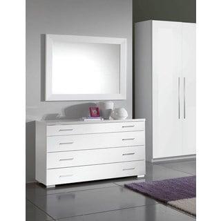 Luca Home White Dresser/ Mirror Set