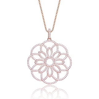 Collette Z Rose-plated Sterling Silver Cubic Zirconia Elegant Flower Necklace