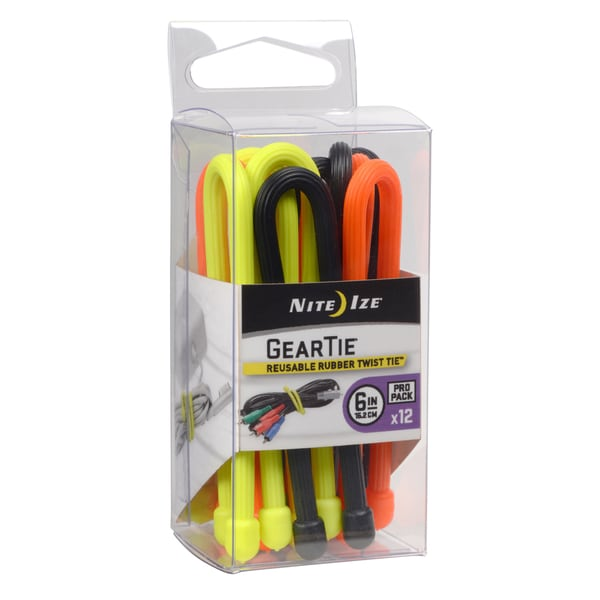 Nite Ize  Gear Tie  6 in. L Black, Bright Orange, Neon Yellow  Twist Ties  12 pk