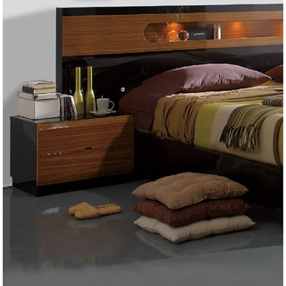 Luca Home Black and Walnut Nightstand