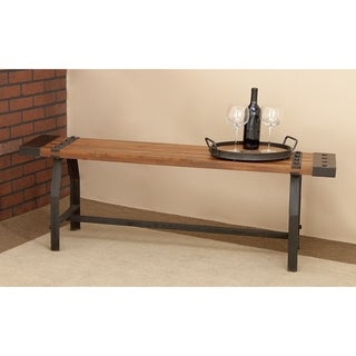 Industrial 18 x 55 Inch Wood and Iron Slatted Bench by Studio 350