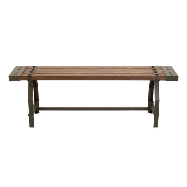 Rustic Industrial-inspired Wood Bench - Free Shipping Today ...