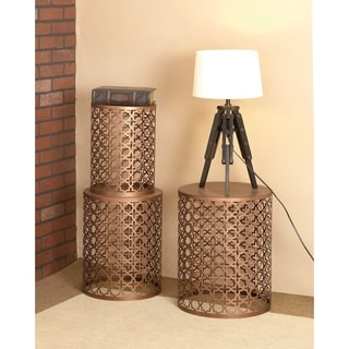 Metal Bronze Quatrefoil Set of 3 Accent Side Tables