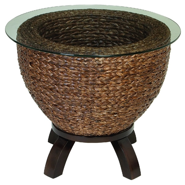 Wicker Leaf Drum Design Glass End Table