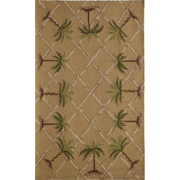 Hand-tufted Glory Beige Geometric Area Rug (5' x 8')