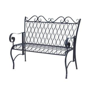 Romantic Black Iron Oval Bench