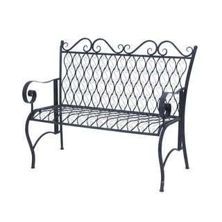 Romantic Black Iron Oval Bench