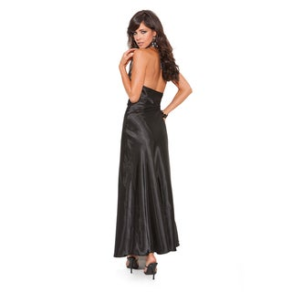 Elegant Moments Long Satin Charmeuse Halter Night Gown