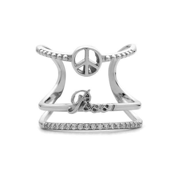 La Preciosa Sterling Silver Cubic Zirconia Wide Band 'Peace' or 'Love' Ring