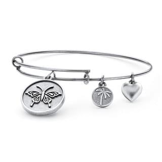 PalmBeach Silvertone Butterfly Tailored Charm Bracelet