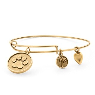 Goldtone Paw Print Tailored Charm Bracelet