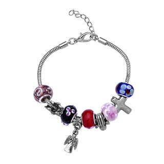La Preciosa Silvertone Colored Beads and Angel Charm Bracelet