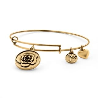 PalmBeach Goldtone Rose Tailored Charm Bracelet