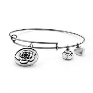 PalmBeach Silvertone Rose Tailored Charm Bracelet