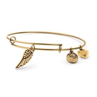 PalmBeach Goldtone Angel Wing Tailored Charm Bracelet