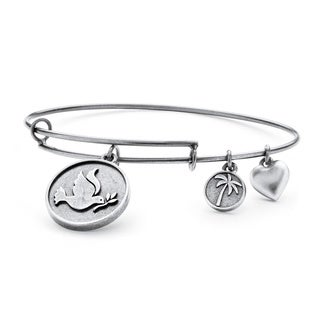 Silvertone Dove of Peace Tailored Charm Bracelet