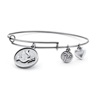 PalmBeach Silvertone Dove of Peace Tailored Charm Bracelet