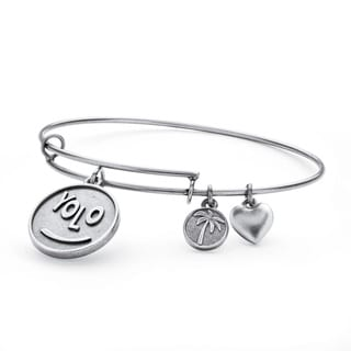 Silvertone YOLO Tailored Charm Bracelet