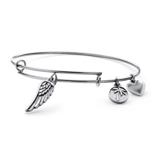 PalmBeach Silvertone Angel Wing Tailored Charm Bracelet