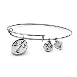 PalmBeach Silvertone Celtic Cross Tailored Charm Bracelet