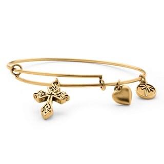 Goldtone Scroll Cross Tailored Charm Bracelet