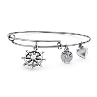 Silvertone Wheel of Life Tailored Charm Bracelet