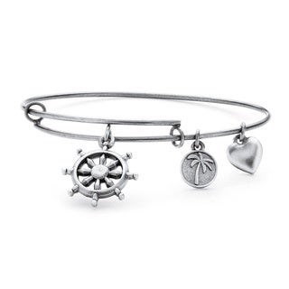 PalmBeach Silvertone Wheel of Life Tailored Charm Bracelet