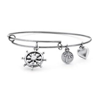 PalmBeach Silvertone Wheel of Life Tailored Charm Bracelet