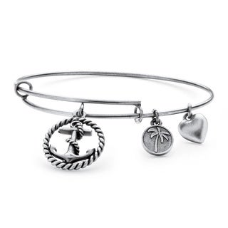 Silvertone Anchor Tailored Charm Bracelet
