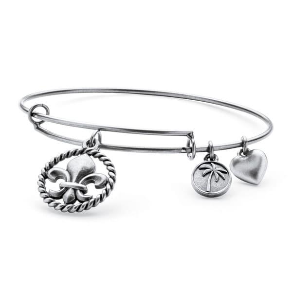 Silvertone Fleur-de-Lis Tailored Charm Bracelet