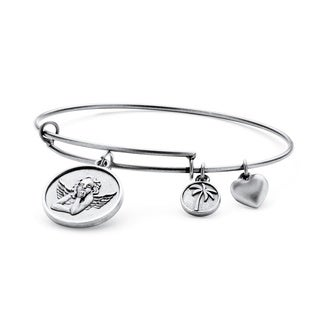 PalmBeach Silvertone Angel Charm Tailored Bangle Bracelet