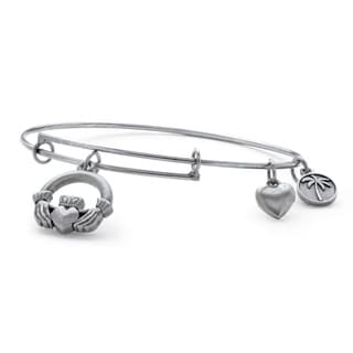 Silvertone Claddagh Charm Tailored Bangle Bracelet