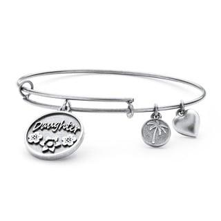 PalmBeach Silvertone Daughter Charm Tailored Bangle Bracelet
