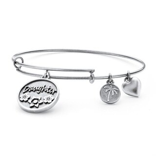 Silvertone Daughter Charm Tailored Bangle Bracelet